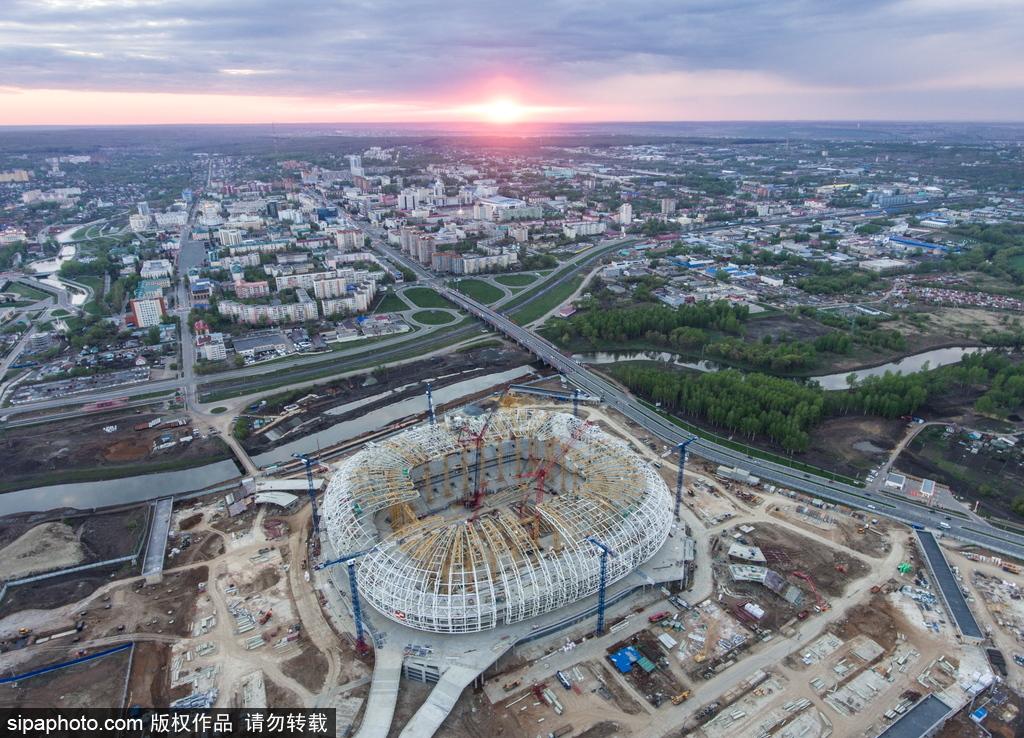 俯瞰俄罗斯萨兰斯克城市风光