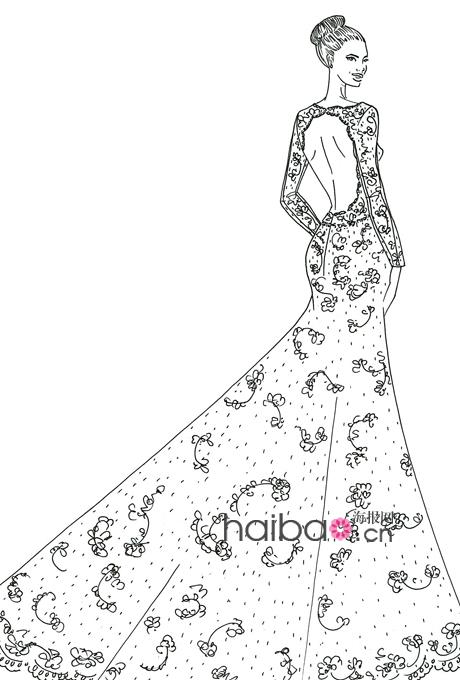 彩铅手绘效果图; 婚纱设计师为安吉丽娜·朱莉绘制