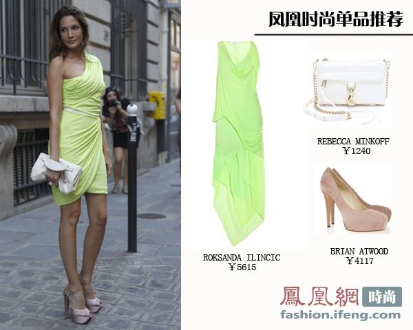 荧光绿系连衣裙