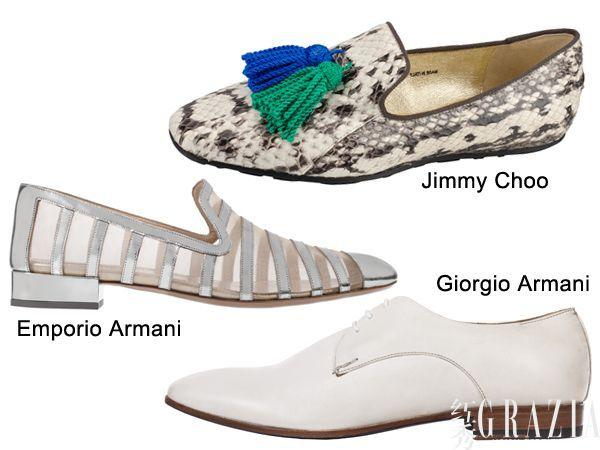 emporio armani 镂空平底鞋、jimmy choo 蛇纹平底鞋、giorgio armani 牛津鞋图片